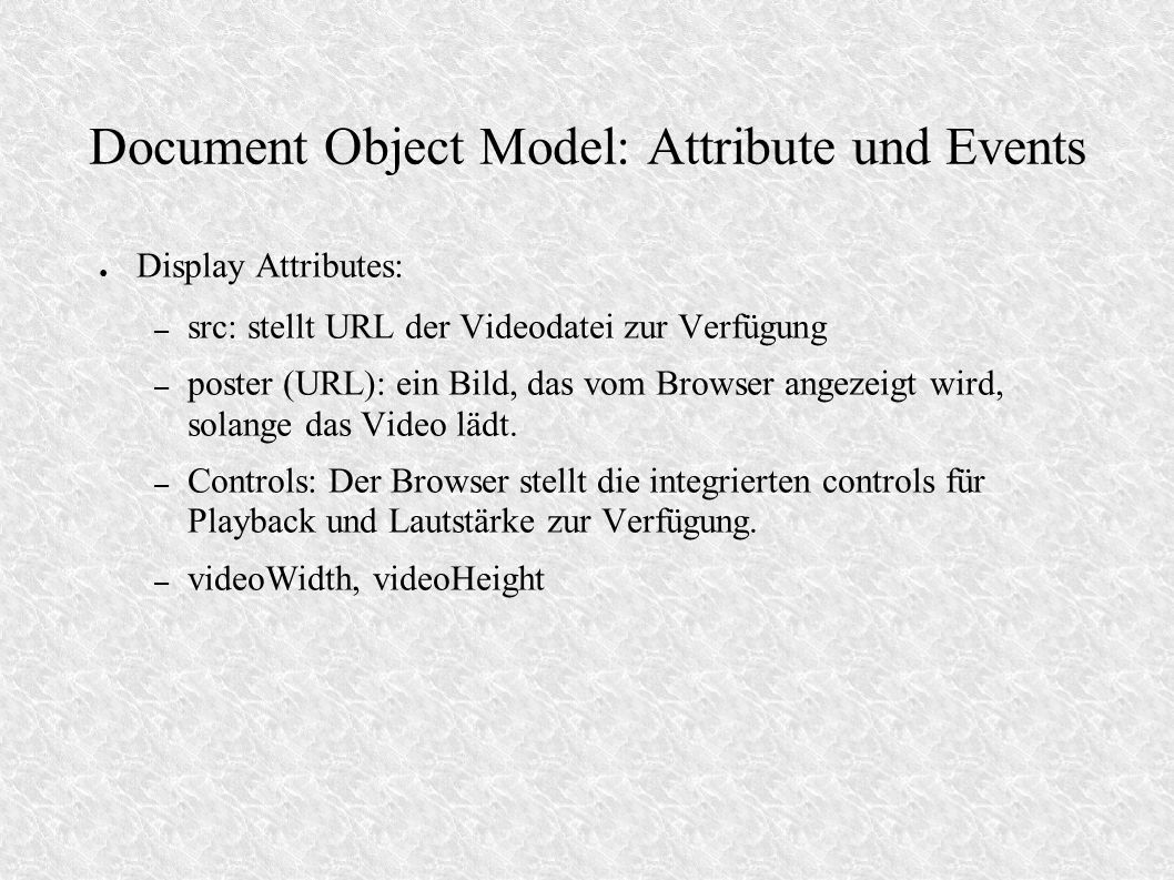 Document Object Model: Attribute und Events