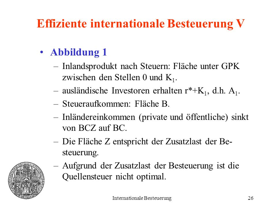 Effiziente internationale Besteuerung V