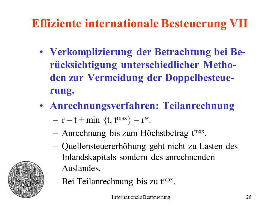 Effiziente internationale Besteuerung VII