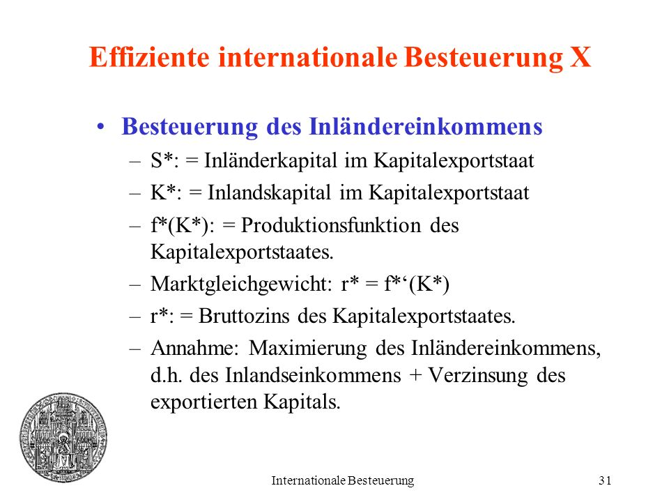 Effiziente internationale Besteuerung X