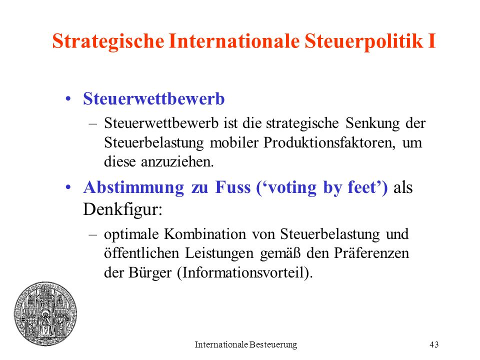 Strategische Internationale Steuerpolitik I