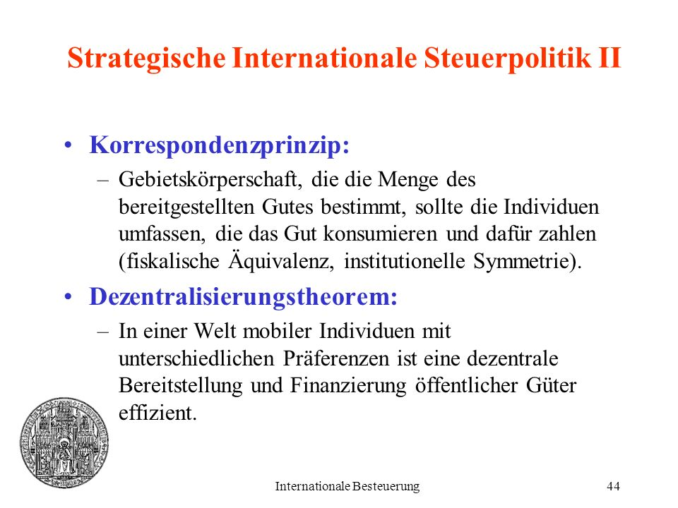 Strategische Internationale Steuerpolitik II