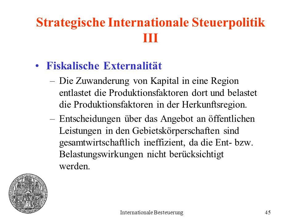 Strategische Internationale Steuerpolitik III