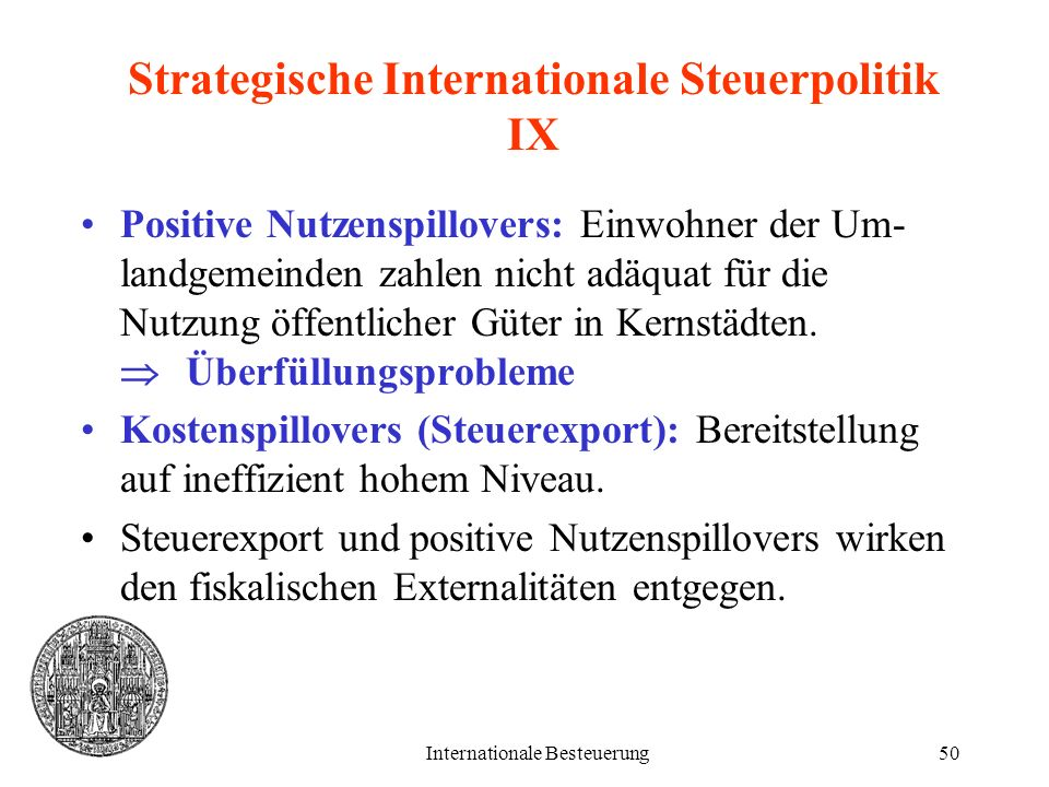 Strategische Internationale Steuerpolitik IX