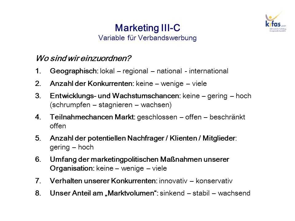 Marketing III-C Variable für Verbandswerbung