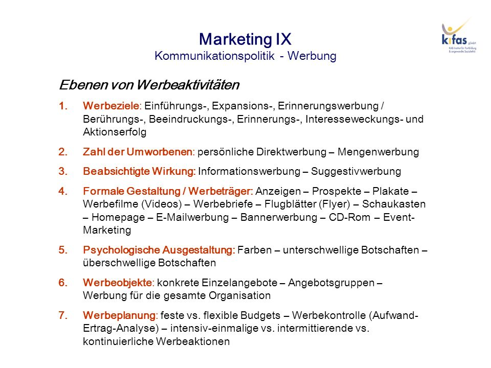 Marketing IX Kommunikationspolitik - Werbung