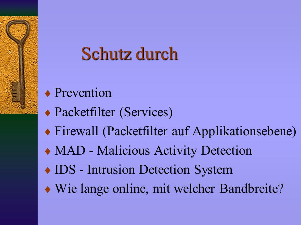Schutz durch Prevention Packetfilter (Services)