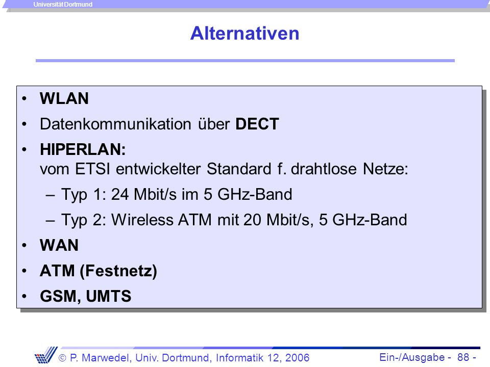 Alternativen WLAN Datenkommunikation über DECT