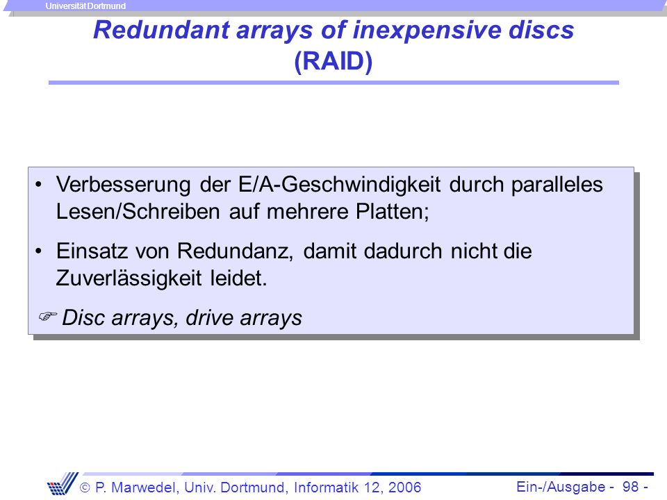 Redundant arrays of inexpensive discs (RAID)