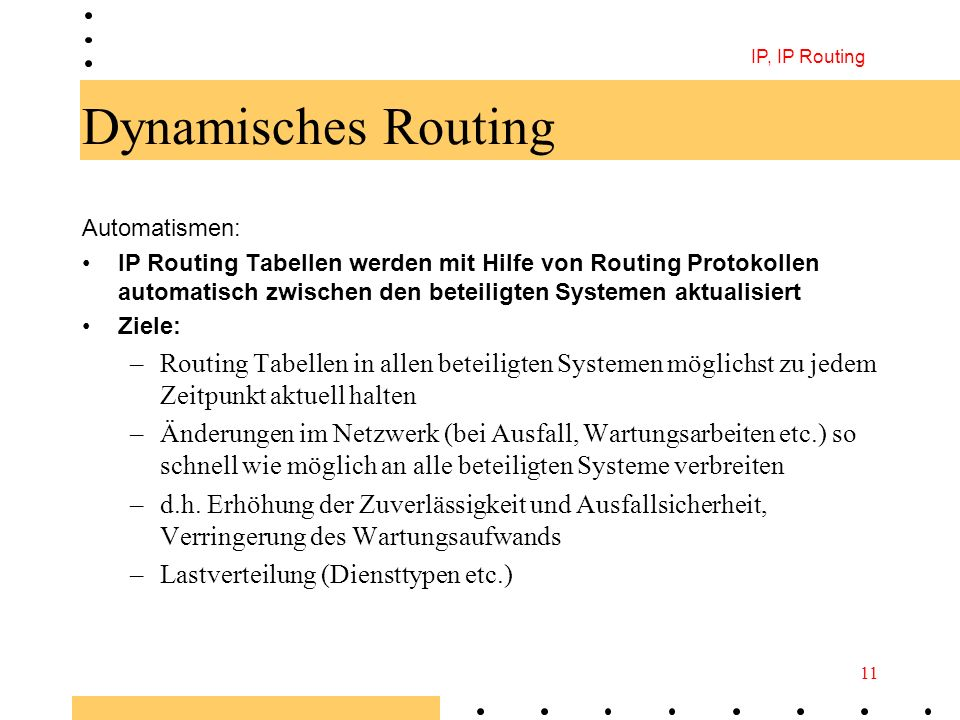 IP, IP Routing Dynamisches Routing. Automatismen: