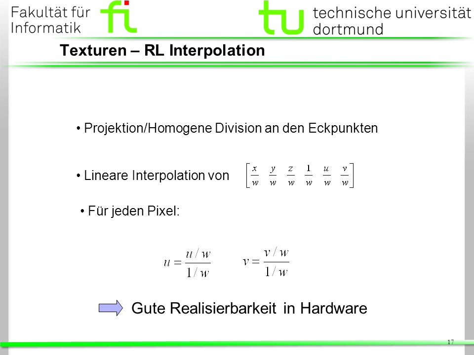 Texturen – RL Interpolation