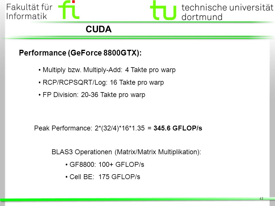 CUDA Performance (GeForce 8800GTX):