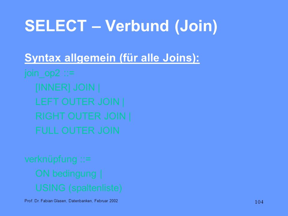SELECT – Verbund (Join)