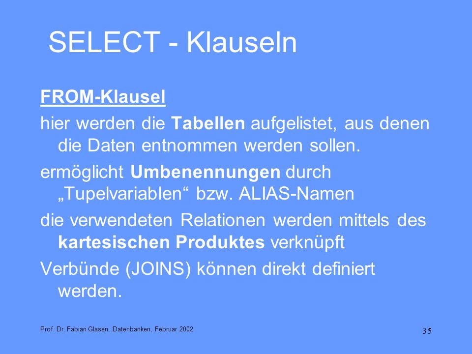 SELECT - Klauseln FROM-Klausel