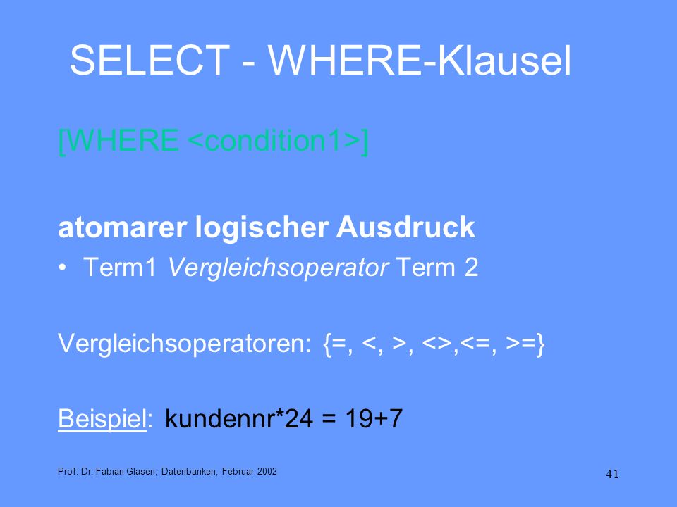 SELECT - WHERE-Klausel
