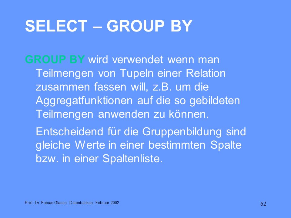 SELECT – GROUP BY