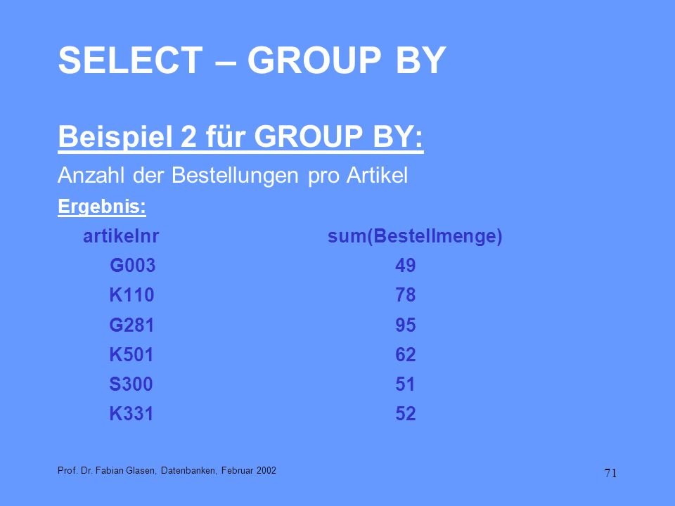 SELECT – GROUP BY Beispiel 2 für GROUP BY: