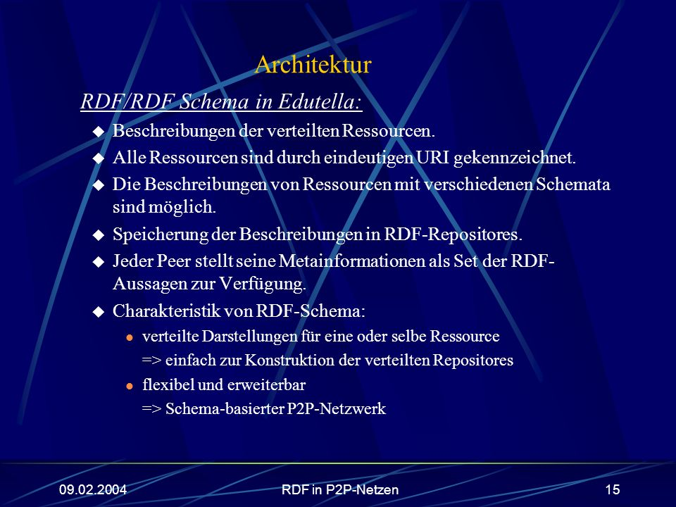 Architektur RDF/RDF Schema in Edutella: