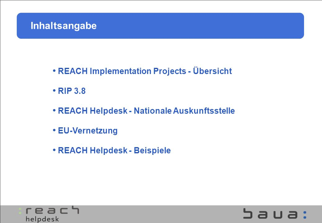 Inhaltsangabe REACH Implementation Projects - Übersicht RIP 3.8