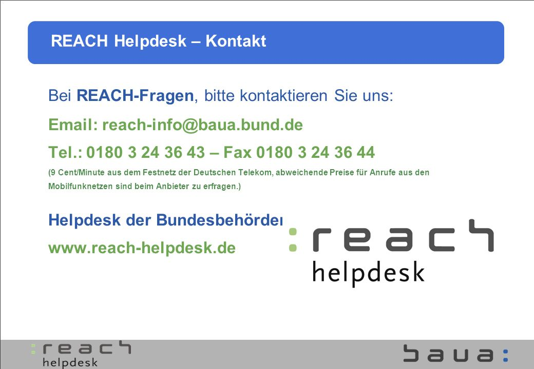 REACH Helpdesk – Kontakt
