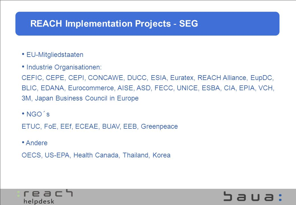 REACH Implementation Projects - SEG