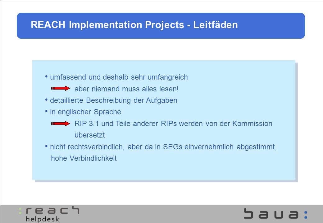 REACH Implementation Projects - Leitfäden