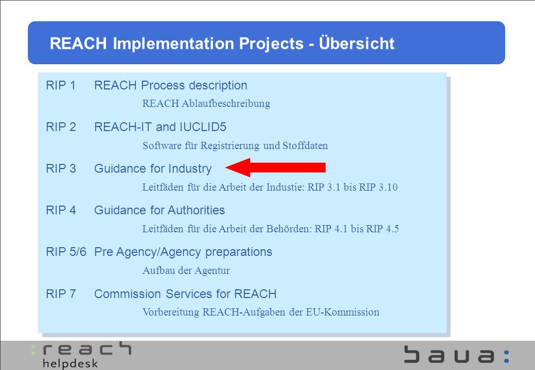 REACH Implementation Projects - Übersicht