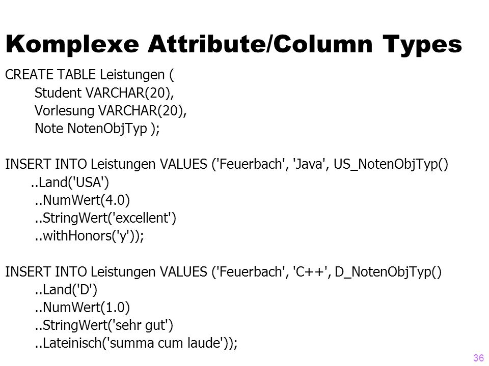 Komplexe Attribute/Column Types