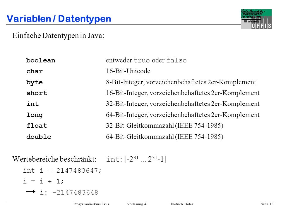 Variablen / Datentypen