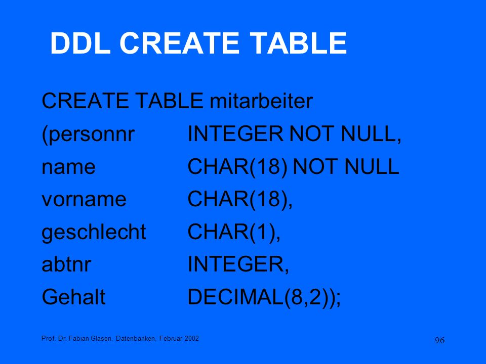 DDL CREATE TABLE CREATE TABLE mitarbeiter (personnr INTEGER NOT NULL,
