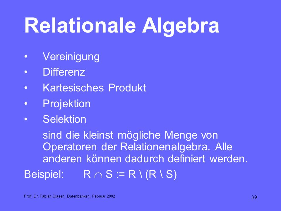 Relationale Algebra Vereinigung Differenz Kartesisches Produkt