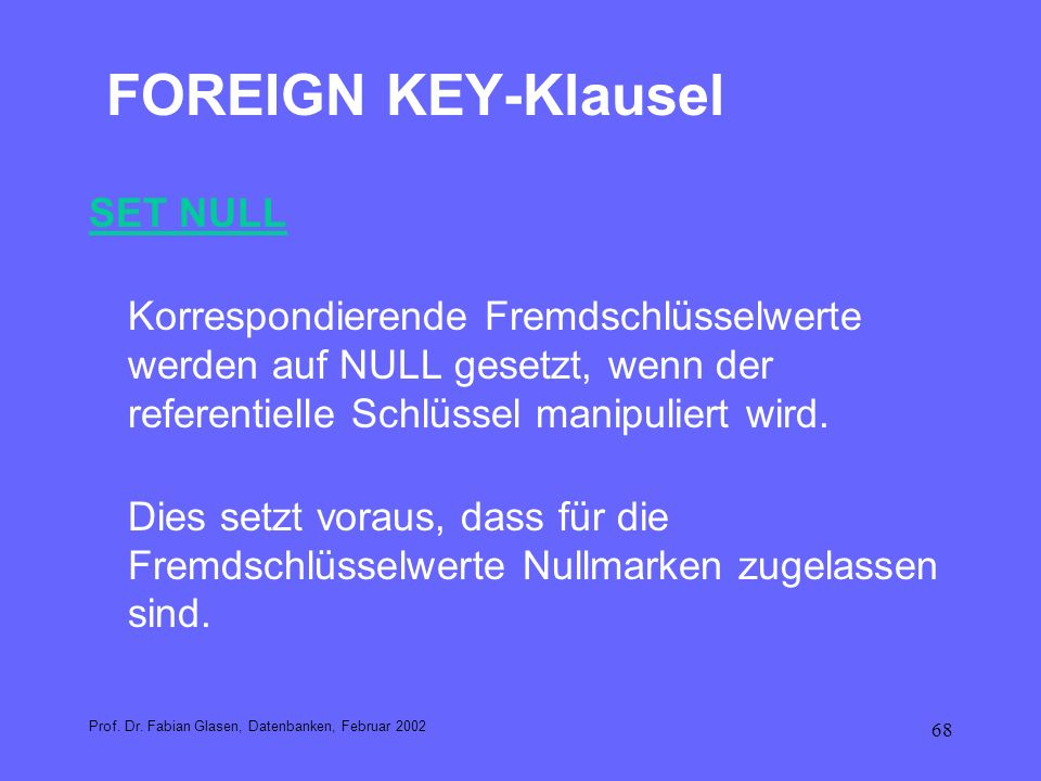 FOREIGN KEY-Klausel SET NULL