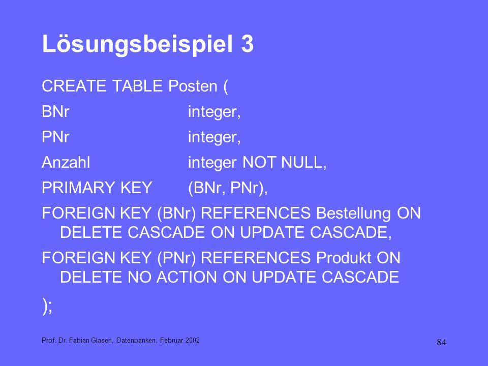 Lösungsbeispiel 3 ); CREATE TABLE Posten ( BNr integer, PNr integer,