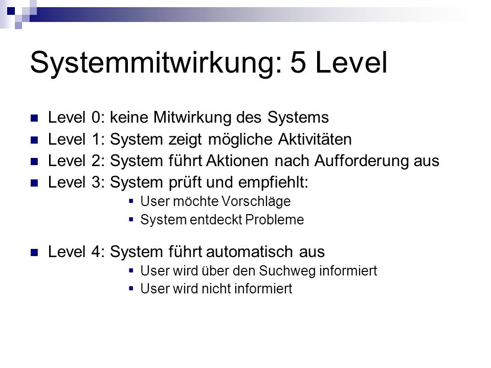 Systemmitwirkung: 5 Level