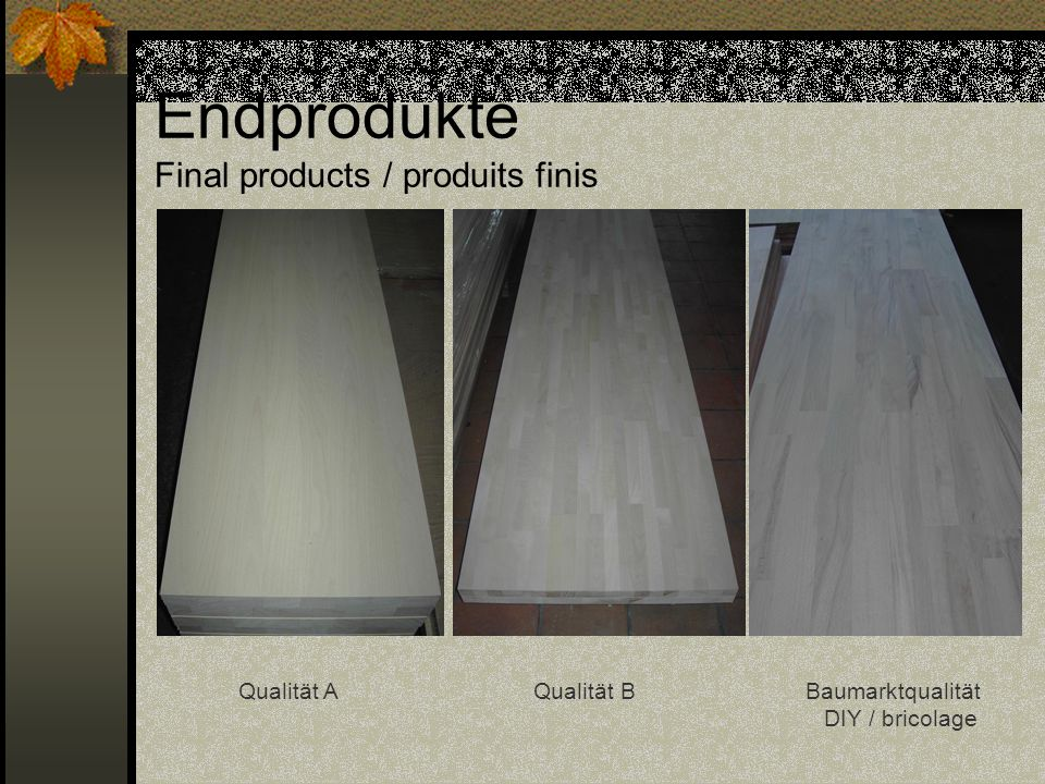 Endprodukte Final products / produits finis