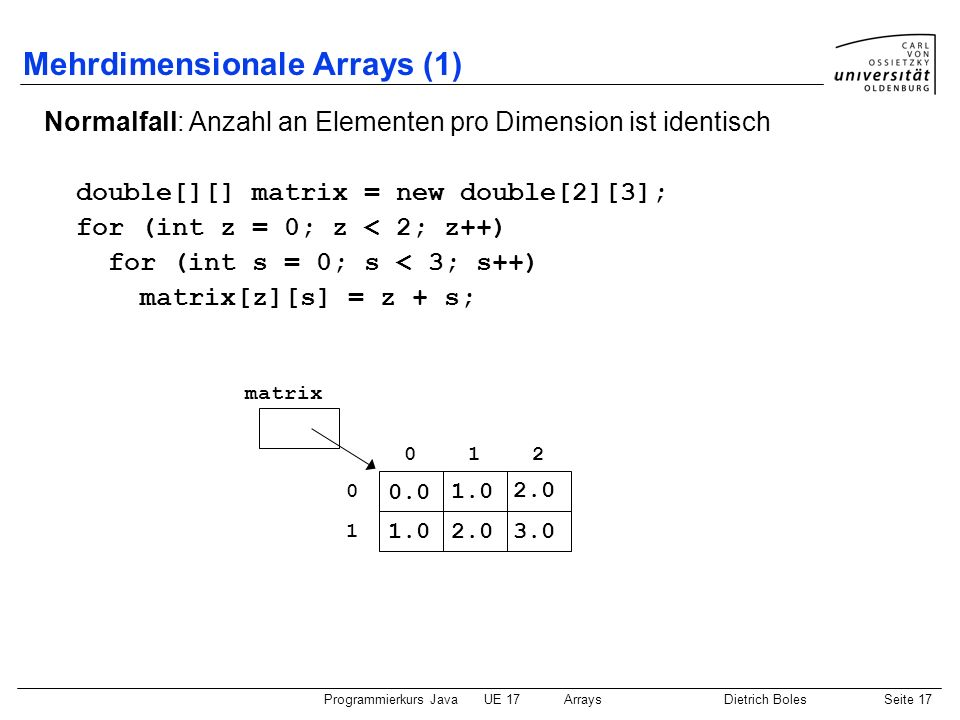 Mehrdimensionale Arrays (1)