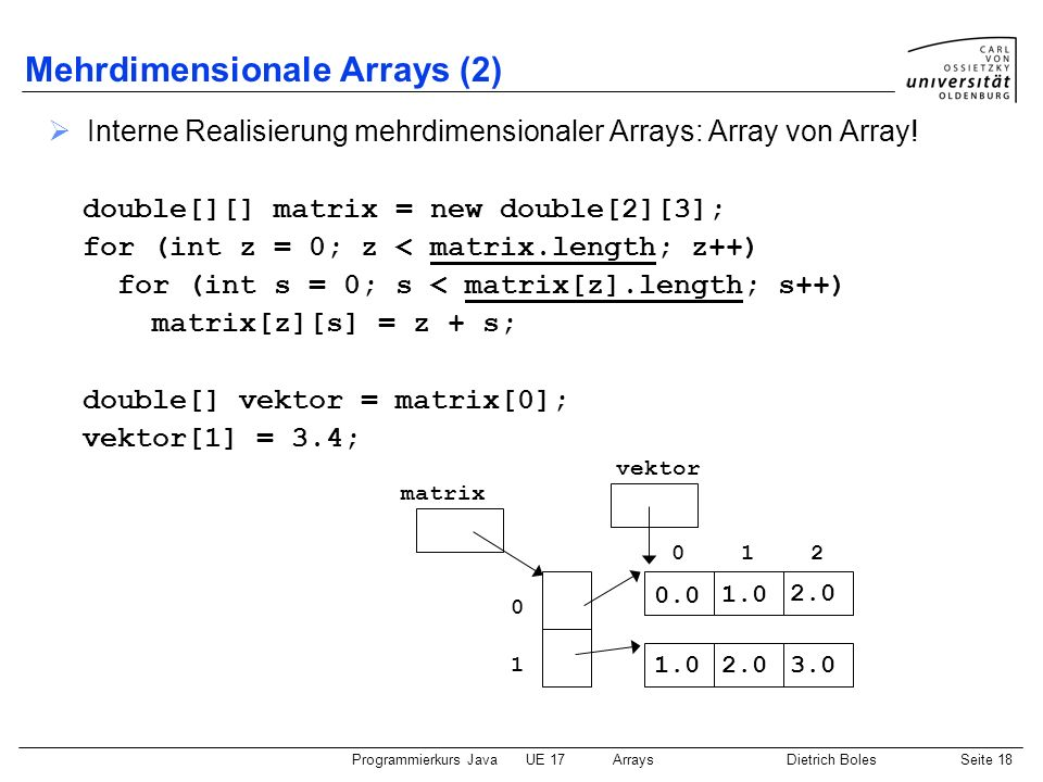 Mehrdimensionale Arrays (2)