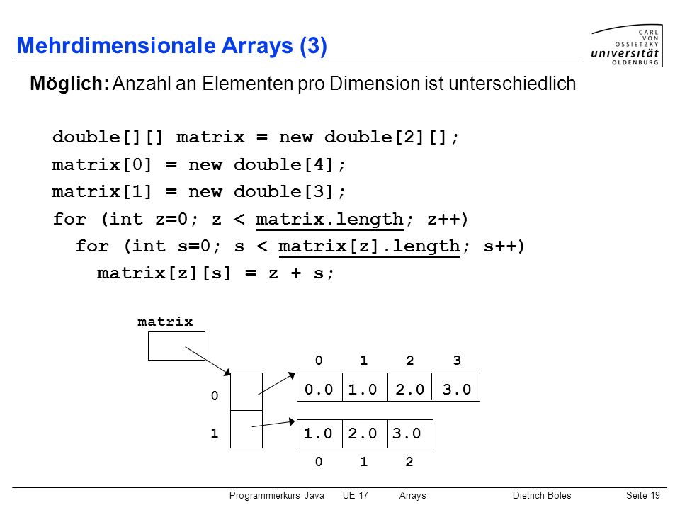 Mehrdimensionale Arrays (3)