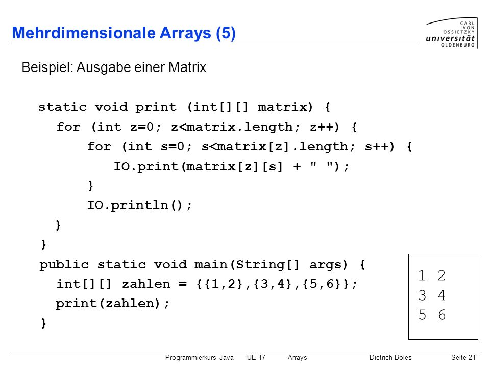 Mehrdimensionale Arrays (5)