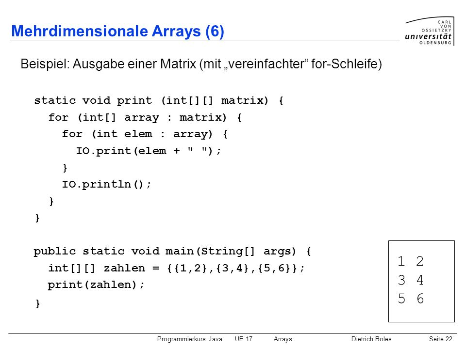Mehrdimensionale Arrays (6)