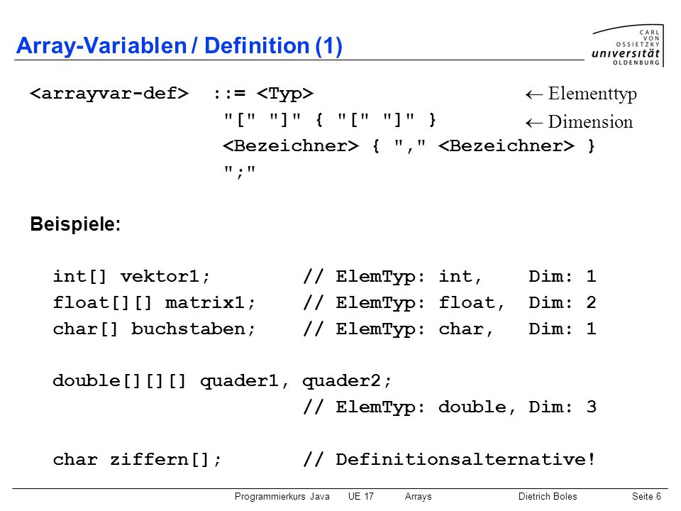 Array-Variablen / Definition (1)