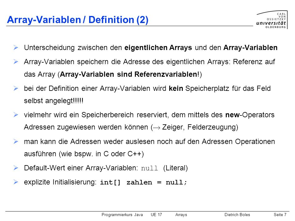 Array-Variablen / Definition (2)