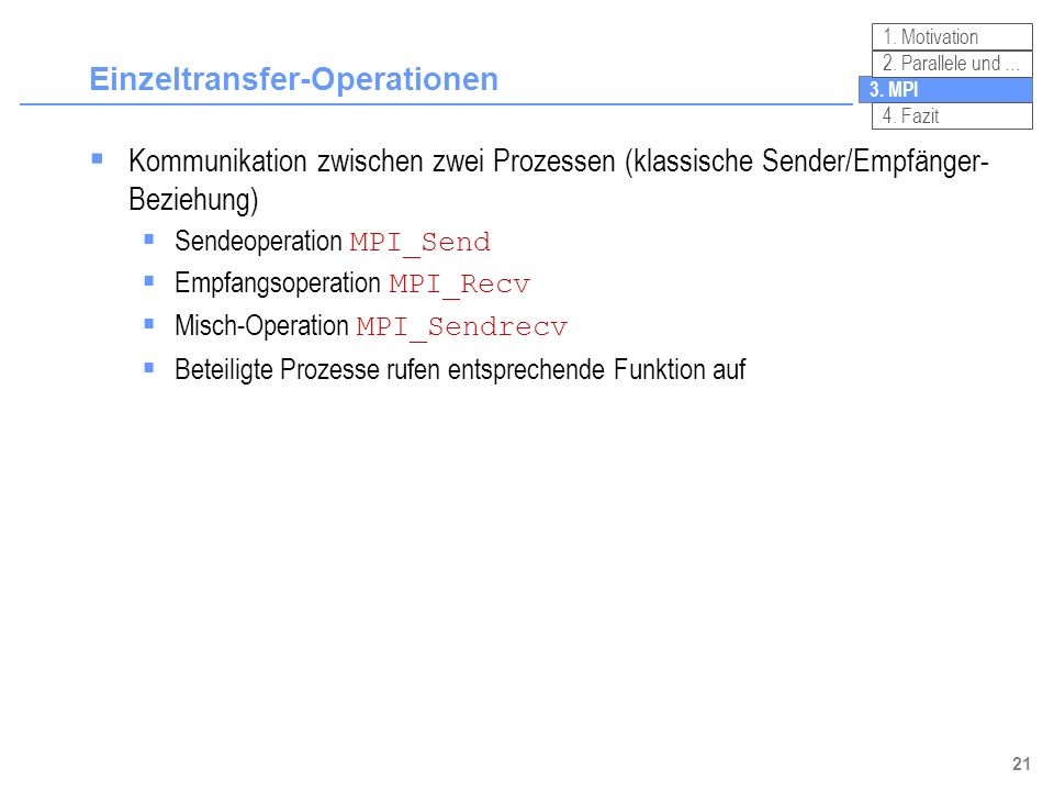 Einzeltransfer-Operationen
