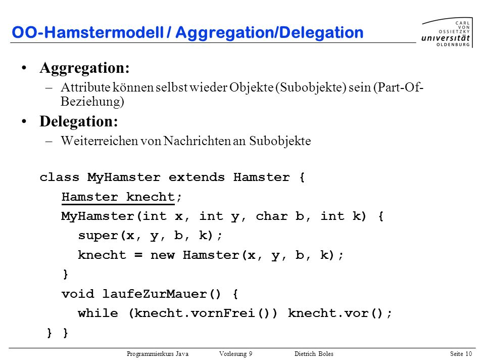OO-Hamstermodell / Aggregation/Delegation