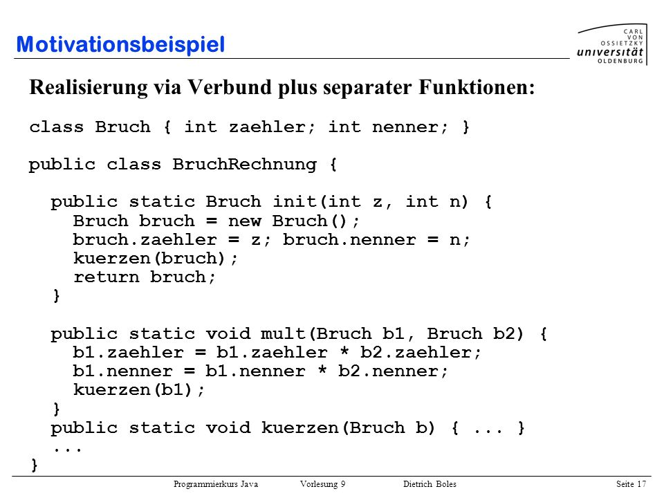 Realisierung via Verbund plus separater Funktionen: