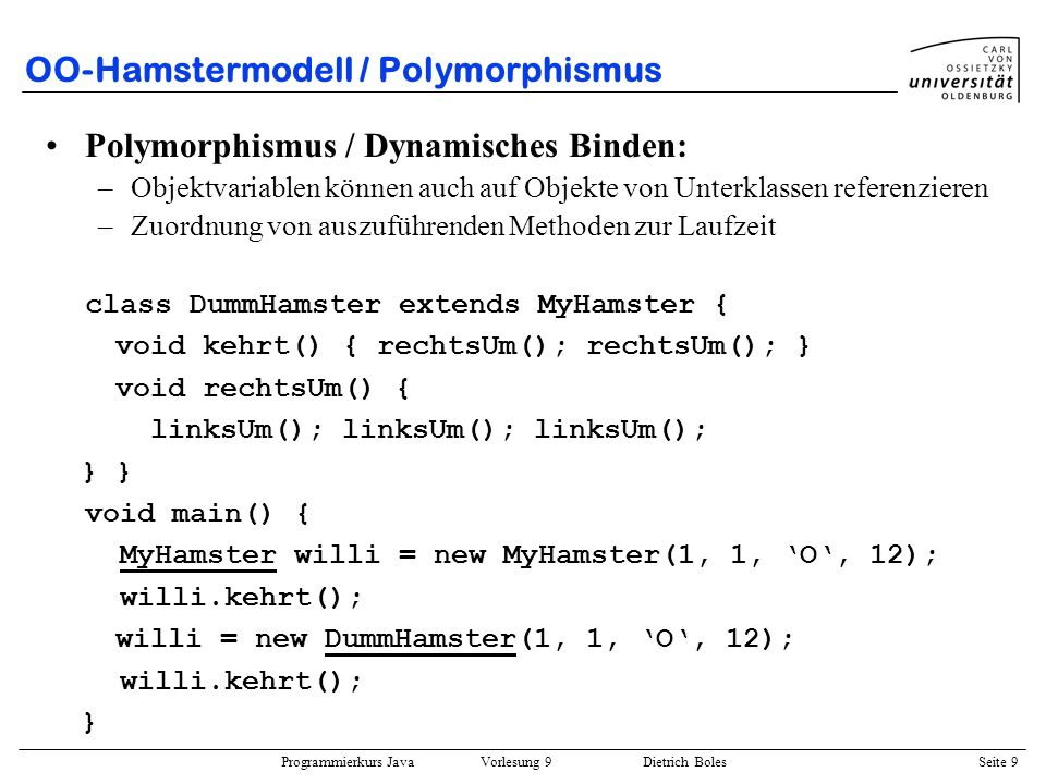 OO-Hamstermodell / Polymorphismus