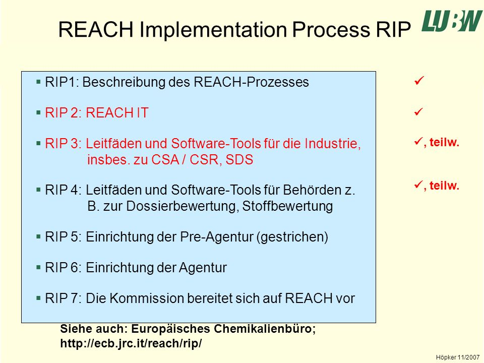 REACH Implementation Process RIP