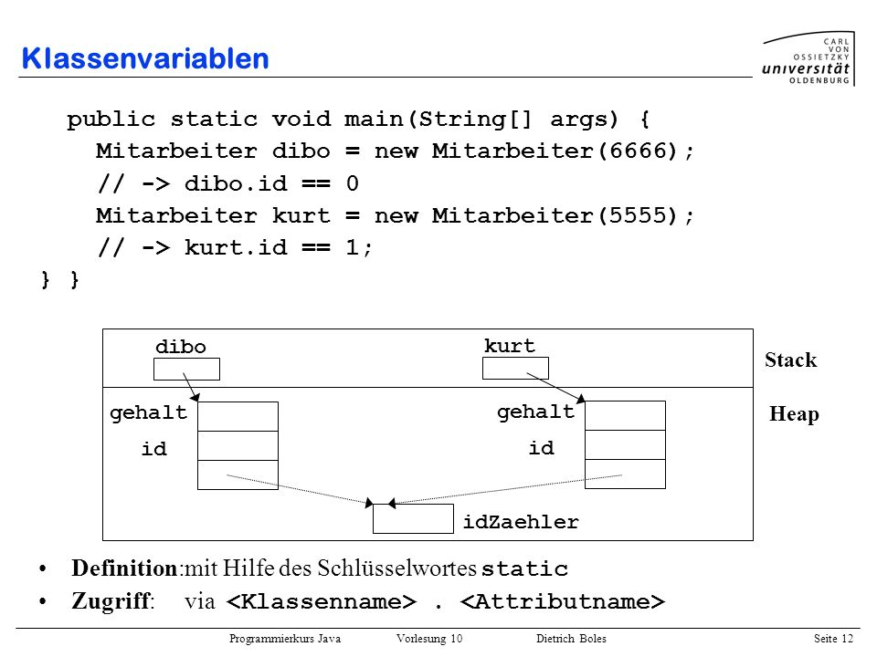 Klassenvariablen public static void main(String[] args) {