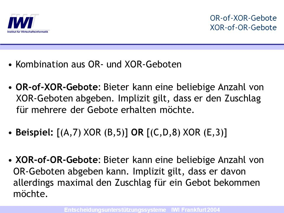 OR-of-XOR-Gebote XOR-of-OR-Gebote