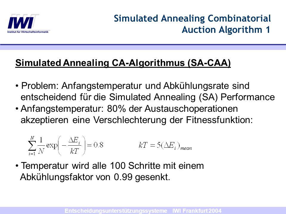 Simulated Annealing Combinatorial Auction Algorithm 1